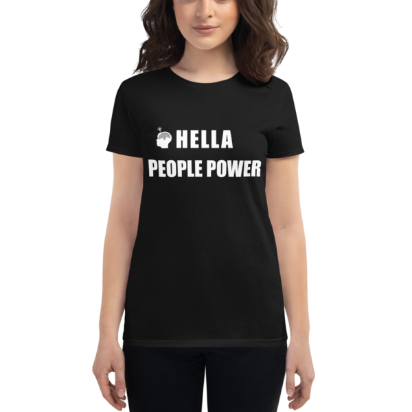 """Person wearing an black women's t-shirt that says """"Hella People Power"""" in large bold font across the chest. Also shows the CDP logo, which is the silhouette of a head with the Oakland tree as a brain and a lightbulb over the head."""